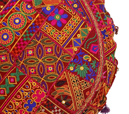 Cotton Khambadiya Cushion Pouf Cases Ottoman Sham Patchwork Large Round Floor Pillow Cover - BohoEntice