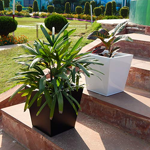 Set of 1 - 12 inches Metal Tapered Planter | Indoor Outdoor Balcony Tapered Plant Pot | Home Garden Office Flowering Container, Black, : Garden & Outdoors