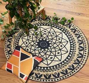 Traditional Rangoli Design Jute Braided Carpet/Rug/Doormat with Black Print, Size: 80 cm Round Diameter, Best for Bedroom/Living Room - BohoEntice