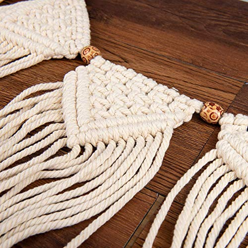 Macrame Woven Wall Hanging Curtain | Fringe Garland Banner | Boho Shabby Chic Bohemian Wall Decor for Apartment Dorm Living Room Bedroom Baby Nursery Art Party Backdrop Decoration