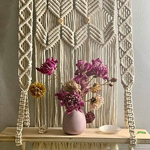 Macrame Wall Hanging - Hanging Shelf Wall Decor - Large Crochet Floating Shelf for Decoration - Halloween Sale