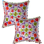 Cotton Suzani Embroidery Zipper Cushion Covers for Sofa Set Deewan Mattress Bed Chair Pillow Cover - BohoEntice