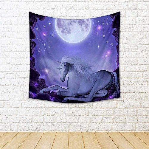 Unicorn Satin Tapestry Wall Hanging 18 X 18Inch - BohoEntice
