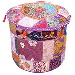 Decorative Living Room Pouf Cover Round Patchwork Embroidered Pouffe Ottoman Cover Purple Cotton Floral - BohoEntice