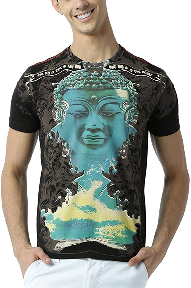 Men's Blue Buddha Printed Black T Shirt - BohoEntice