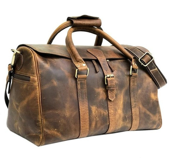 William Premium Rustic Leather Weekender Bag Women Handmade Travel Duffle - Halloween Duffle
