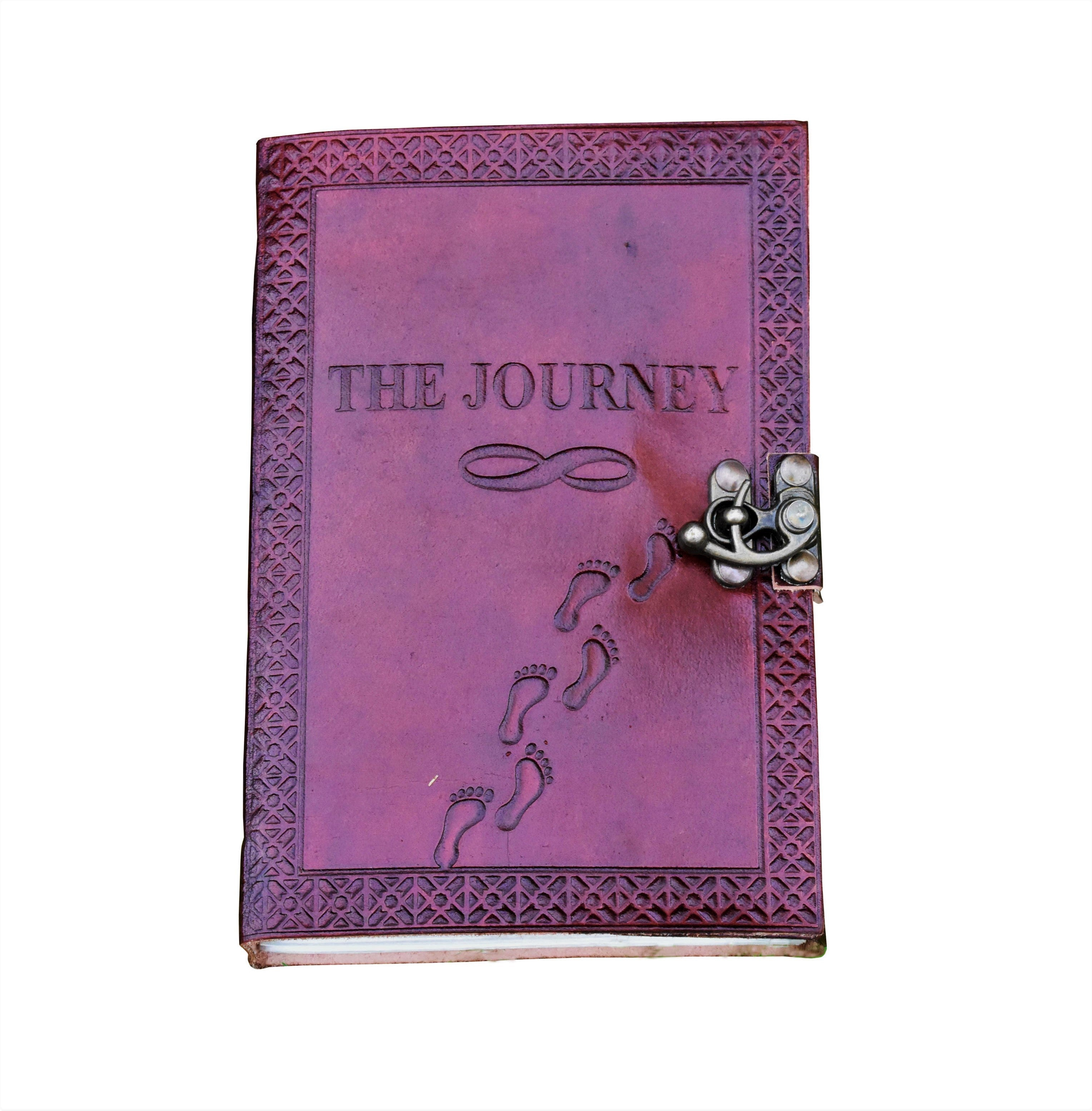 The Journey Embossed Personalise Leather Journal - BohoEntice