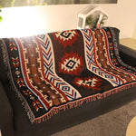 National Style Geometry Black red Kilim Throw Blanket - BohoEntice