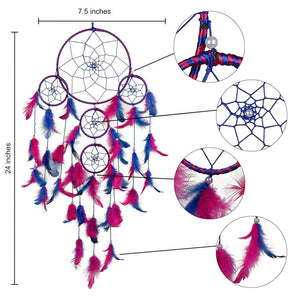 Big 5 Ring Beaded Pink & Blue Feathers Dream Catcher - BohoEntice