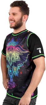 UV Glow Space-Ganesha Multi Color T-Shirt for Men & Women - BohoEntice