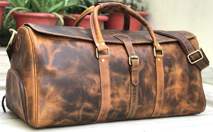 James - Full Grain Leather Weekender Bag With Shoes Compartment, Handmade Travel Duffle