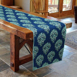 Blue Cotton Paisley Dining Table Runner - BohoEntice