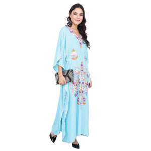Women's Boho Floral Embroidered Blue Kaftan - BohoEntice