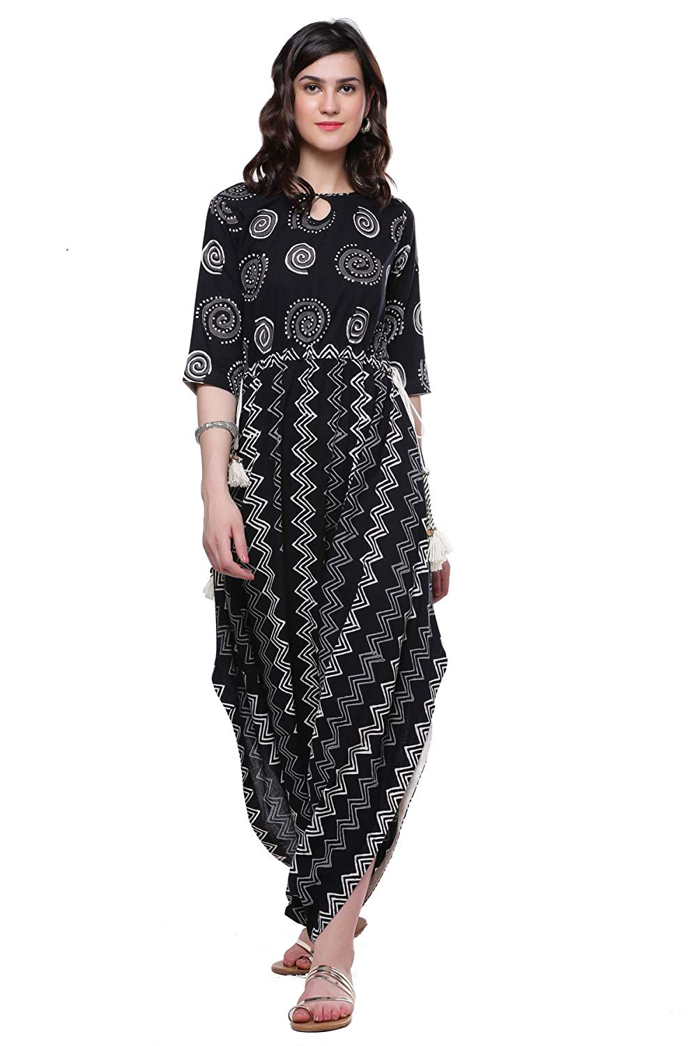 Black Cotton Dhoti Style Kurta Dress For Women's - BohoEntice