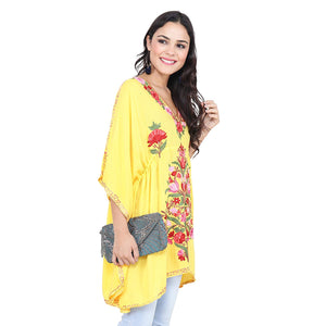 Women's Boho Floral Embroidered Yellow Kaftan Top - BohoEntice