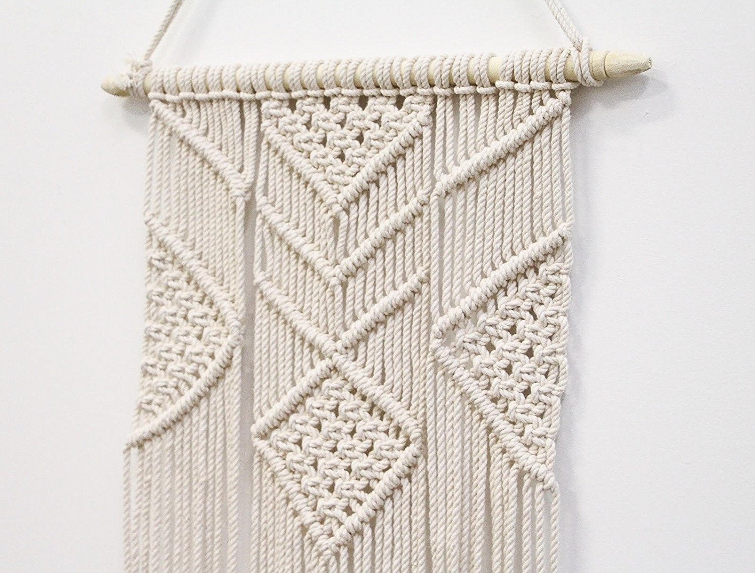 Handcraft Tapestry Woven White Macrame Wall Hanger - BohoEntice