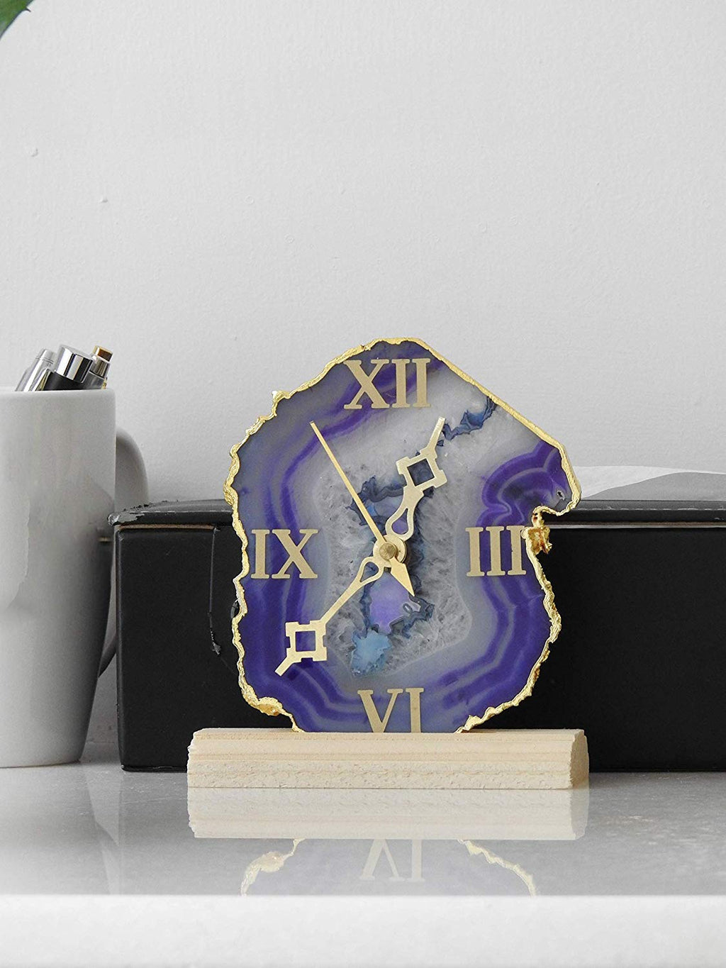 Natural Gemstone Agate Clock - BohoEntice