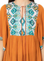 Orange Cotton A-Line Tunic Dress - BohoEntice