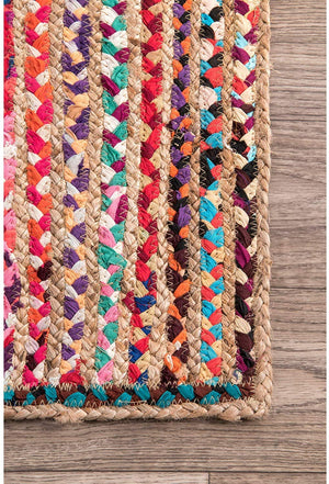 Handmade Multicolor Cotton Chindi Braided Area Rug - BohoEntice
