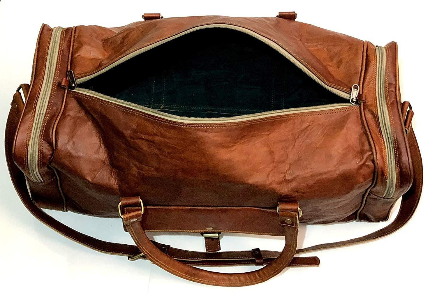 Douglas Brown Leather Duffel Weekender Bag
