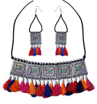 Silver Plated Oxidised Tribal Cotton Thread Jewellery Necklace For Women - BohoEntice