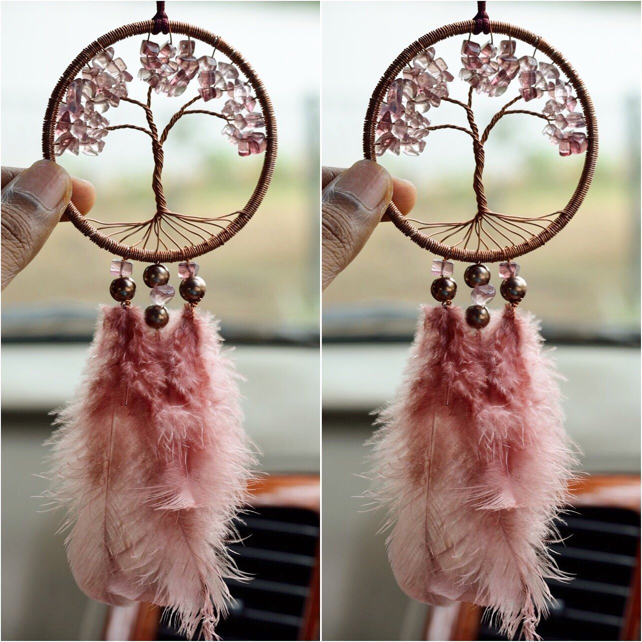 Tree of Life Car Mirror Pale Salmon Color Hanger - BohoEntice