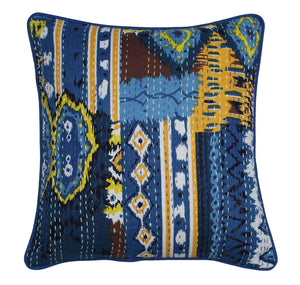 Ikat Multi Colour Kantha Embroidery  Cushion Covers - BohoEntice