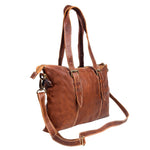 Ladies Leather Tote Handbag in Vintage Brown Handmade - BohoEntice