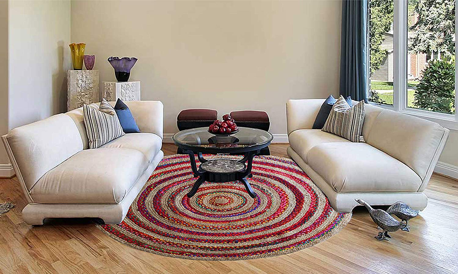 Cotton and Jute Braided Multicolor Chindi Floor Rug - BohoEntice