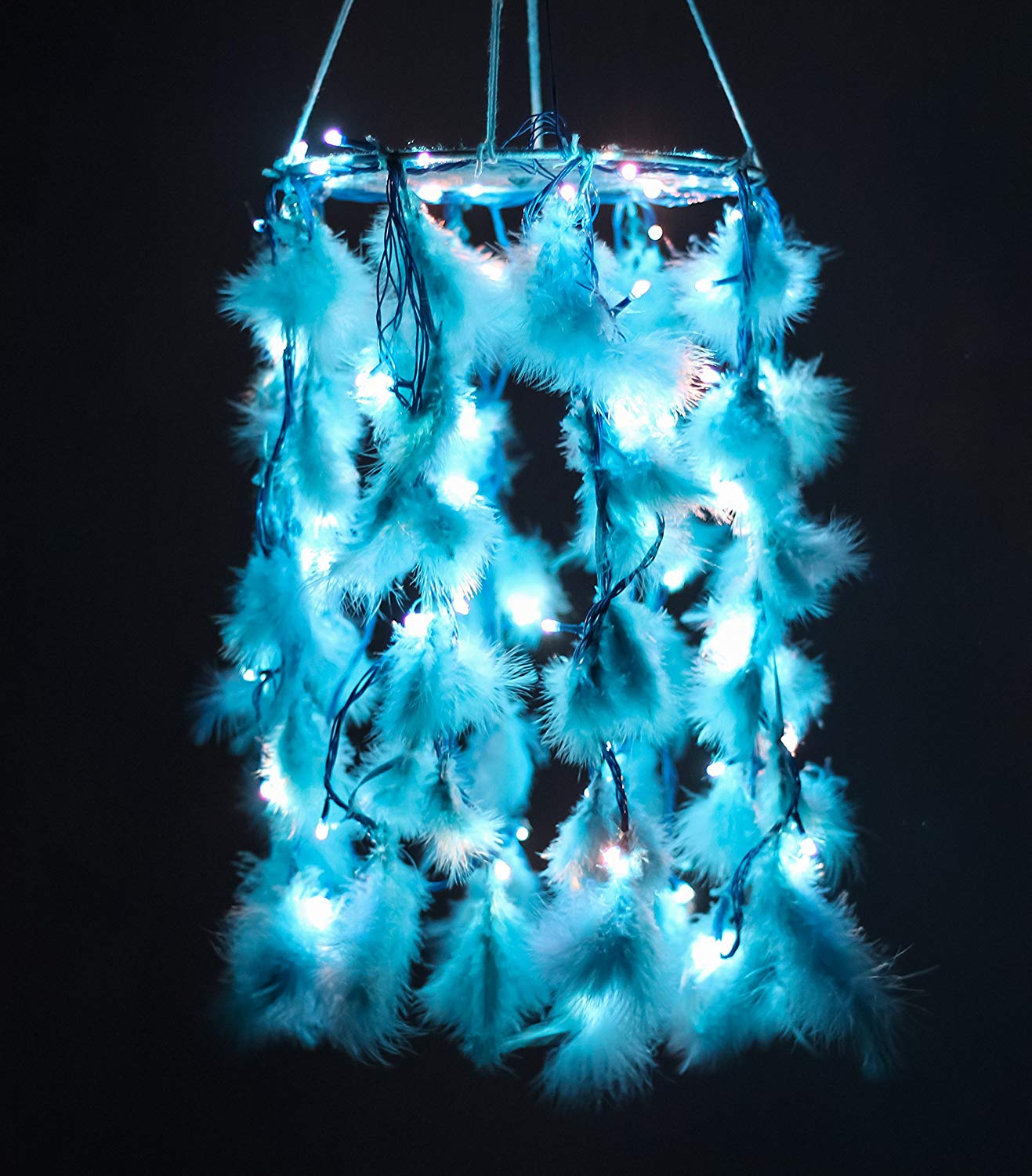 Handmade Blue Color Dreamcatcher With Light - BohoEntice