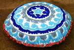 Embroidered Suzani Cotton Round Cushion Pillow Cover Case - BohoEntice