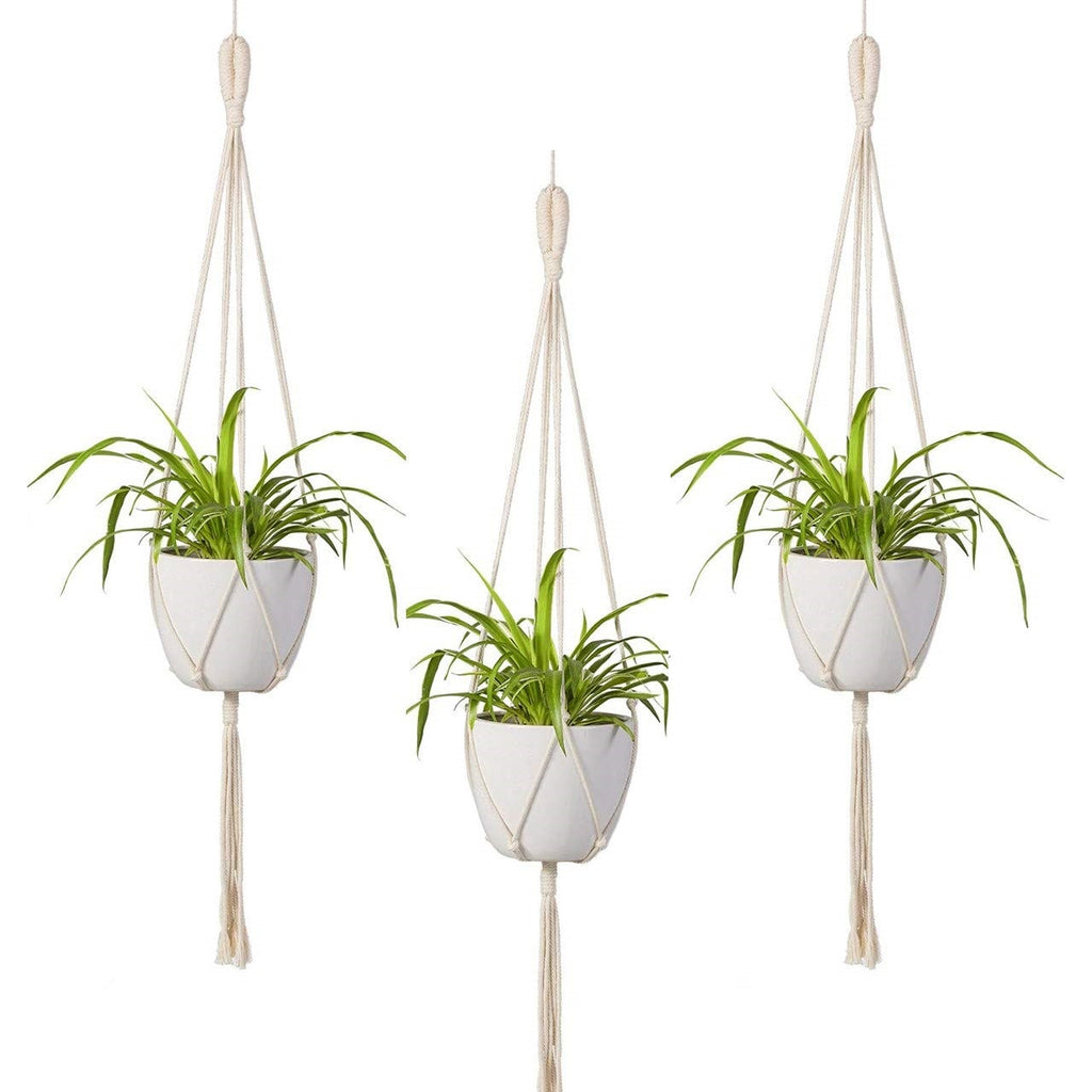 Macrame plant hangers wall planter indoor outdoor Small suspended pot holder Rope crochet hanging planter Simple minimalist boho decor- Home Decor