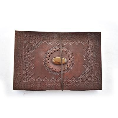 Vintage Leather Embossed Stone Stitched Handmade Leather Photo Album - BohoEntice