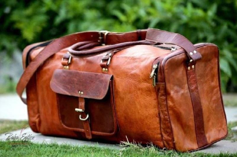 Brown Leather Duffel Bag - BohoEntice
