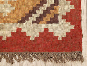 Multicolor Check Box  Wool Jute Carpet Area Rug - BohoEntice