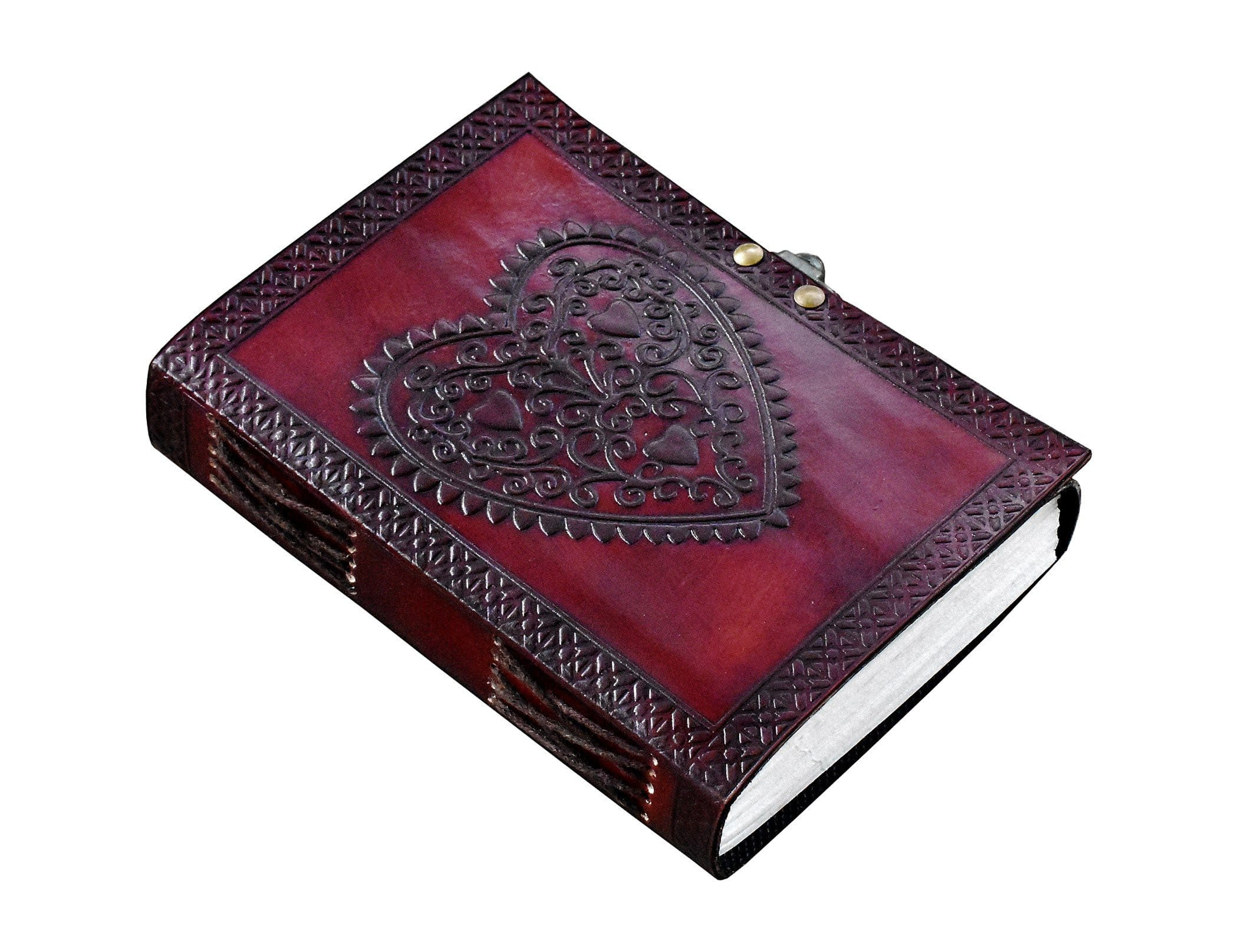 Heart Embossed Leather Notebook Nournal - BohoEntice