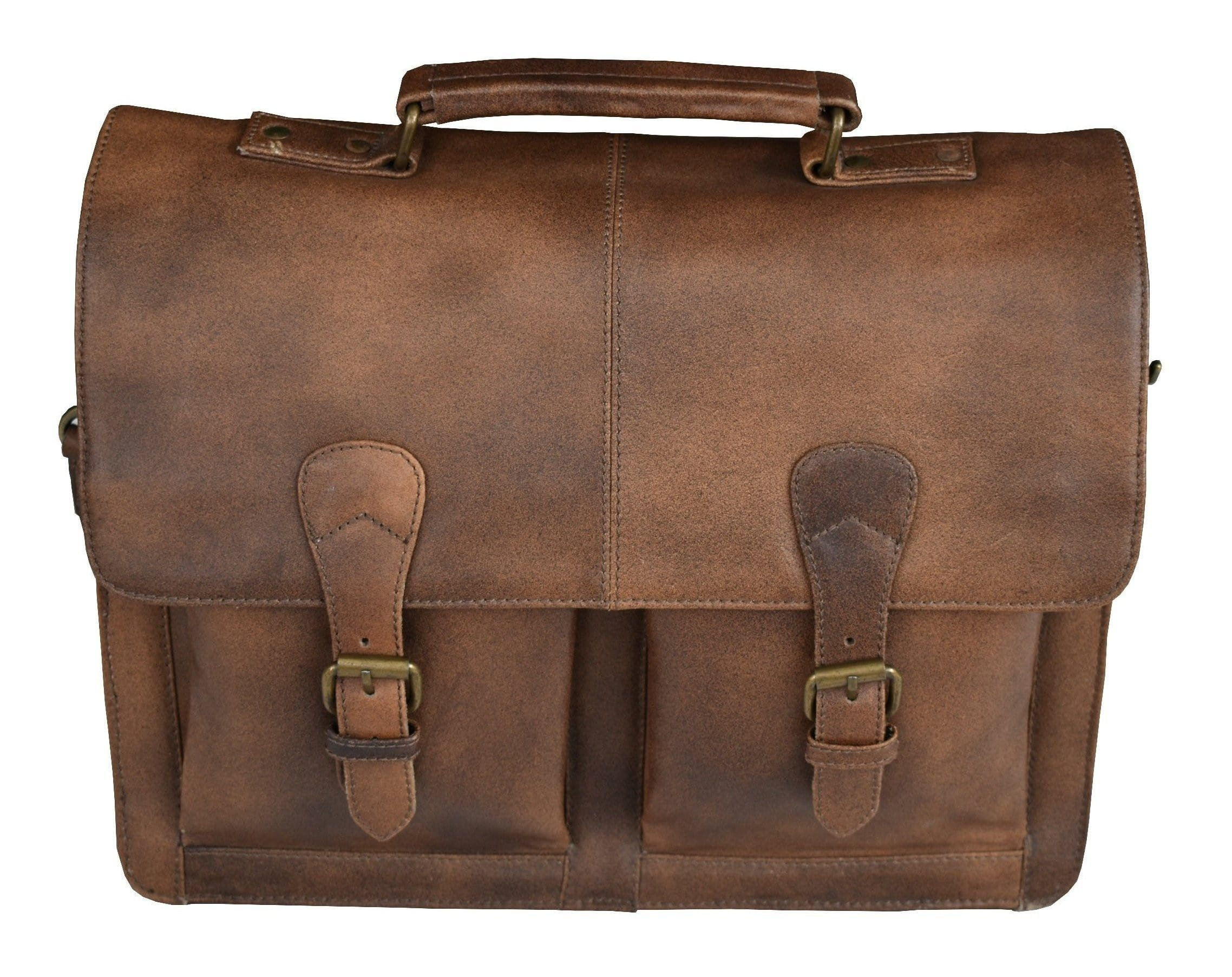 Two Pocket Genuine Buffalo Leather Briefcase - BohoEntice