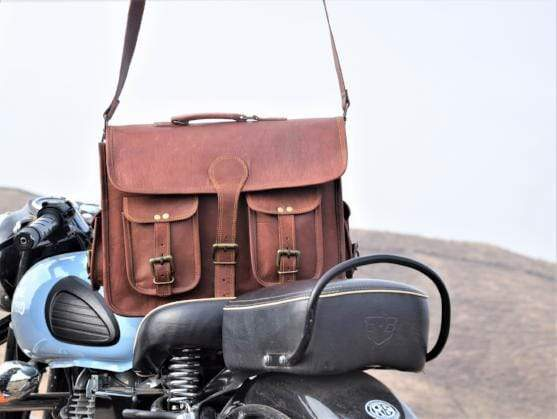 Men's Four Pocket Handy Leather Messenger  Bag - BohoEntice