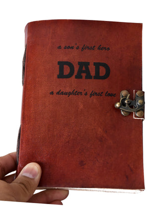 A son's First Hero Daughters First Love Personalise Leather Journal - BohoEntice
