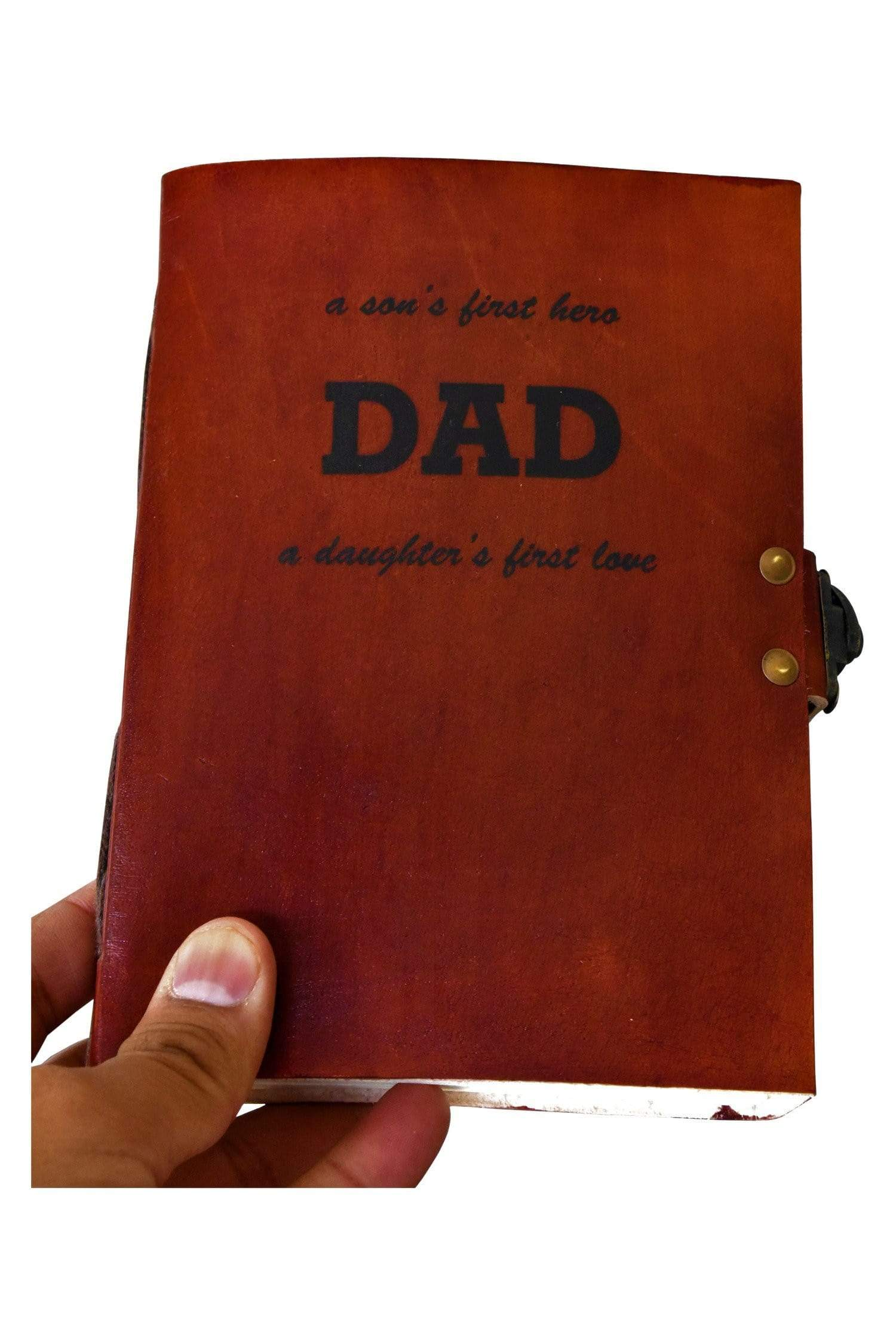 A son's First Hero Personalise  Father Quote Leather Journal - BohoEntice