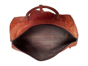 Leather Large Triangle Duffel Gym Bag - BohoEntice