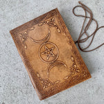 Celestial Triple Moon Leather Writing Journal - BohoEntice