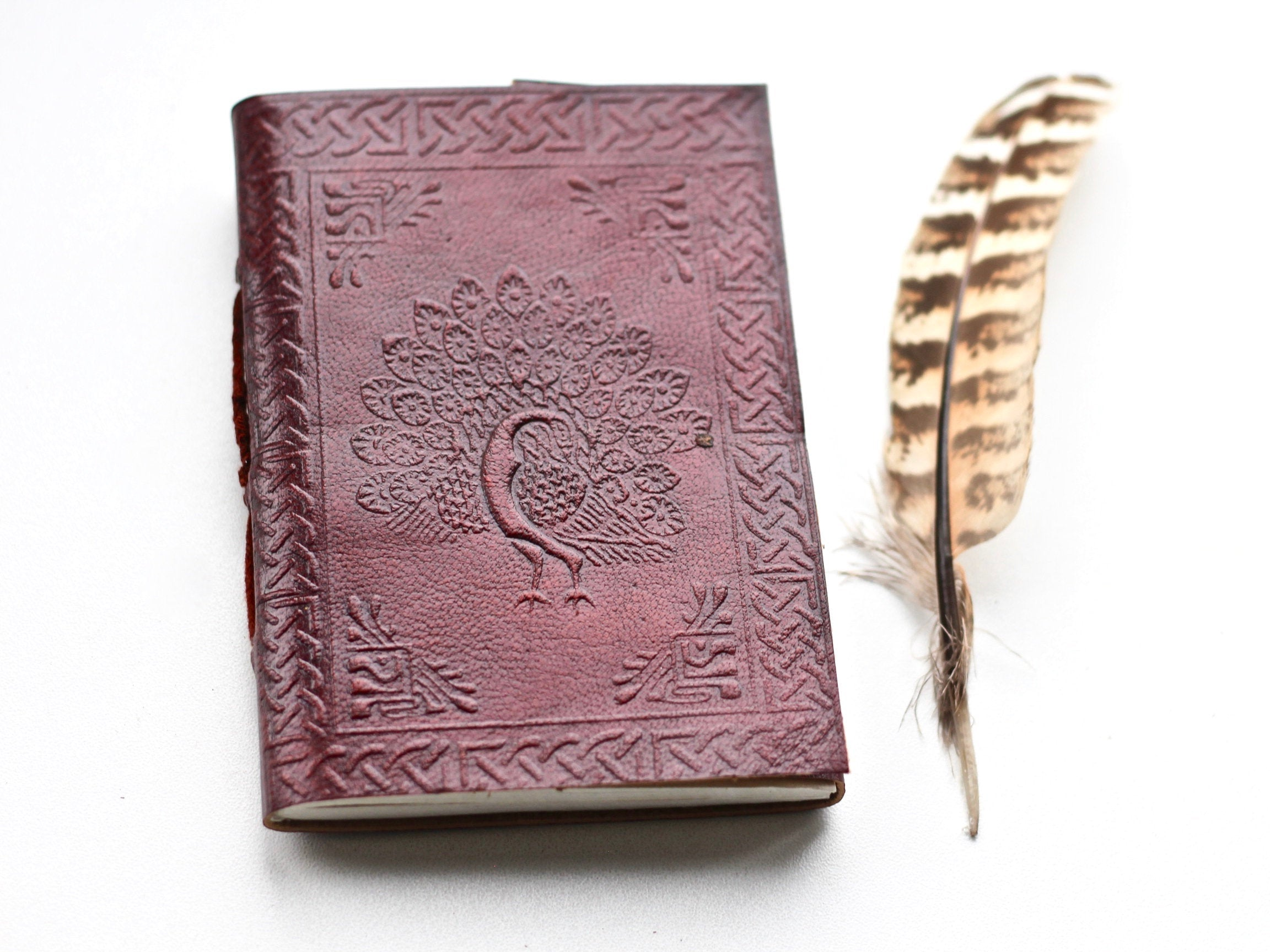 Peacock Bullet Journal Brown Leather Mandala - BohoEntice