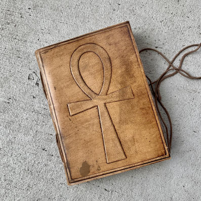 Handmade Ankh Brown Leather Journal - BohoEntice
