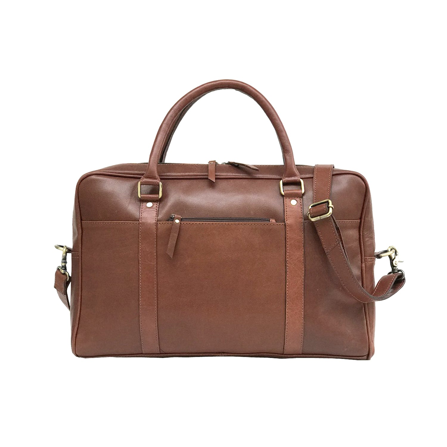 Dark Brown Genuine Vintage Leather Laptop Bag - BohoEntice