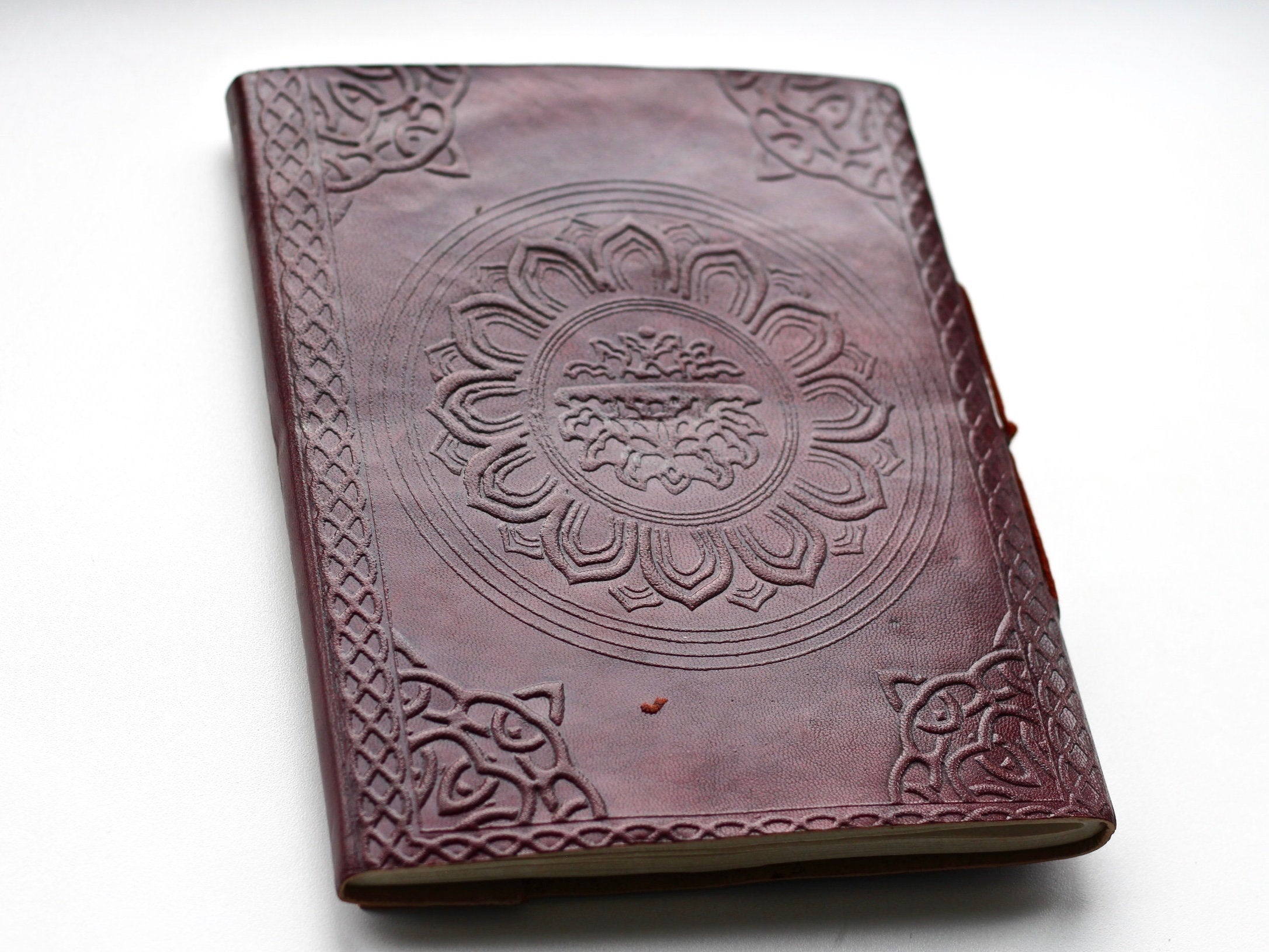 Leather Chakra Crystal LARGE Embossed Journal - BohoEntice