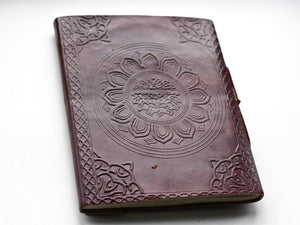 Embossed Leather LARGE Crystal Journal - BohoEntice