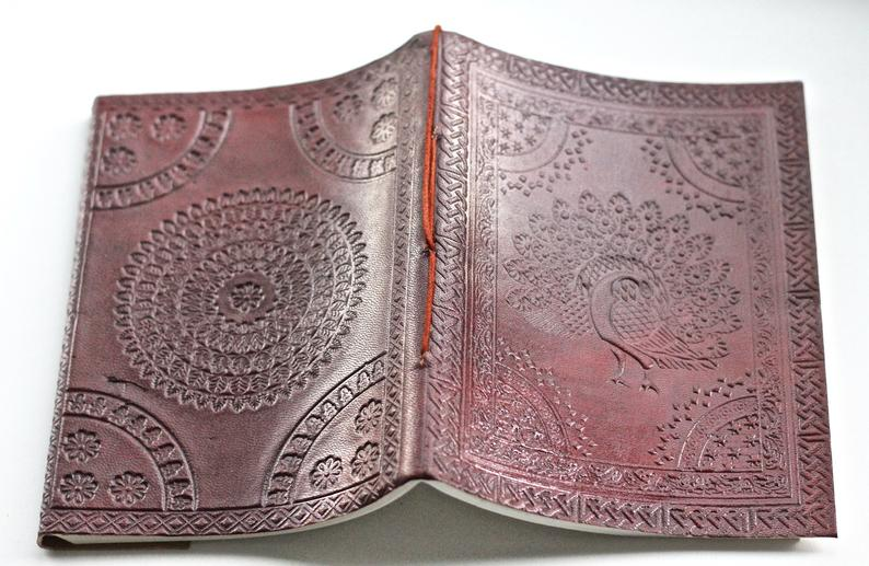 Peacock Mandala Brown Leather Journal - BohoEntice