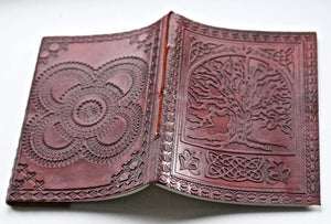 Tree of Life Brown Leather Journal - BohoEntice