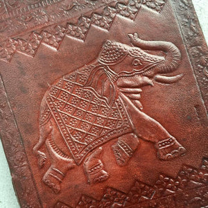 Handmade Elephant Embossed Rustic Travel Journal - BohoEntice